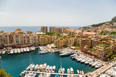 Monaco. Harbour of Fontvieille. Fontvieille is the newest of the four traditional quarters (districts) in the principality of Monaco, and one of ten Wards for Royalty Free Stock Photography