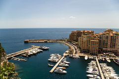 Monaco. Harbour of Fontvieille. Fontvieille is the newest of the four traditional quarters (districts) in the principality of Monaco, and one of ten Wards for Royalty Free Stock Images