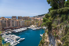 Monaco. Harbour of Fontvieille. Fontvieille is the newest of the four traditional quarters (districts) in the principality of Monaco, and one of ten Wards for Royalty Free Stock Photos