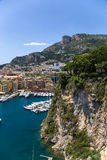 Monaco. Harbour of Fontvieille. Fontvieille is the newest of the four traditional quarters (districts) in the principality of Monaco, and one of ten Wards for Stock Photos