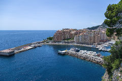 Monaco. Harbour of Fontvieille. Fontvieille is the newest of the four traditional quarters (districts) in the principality of Monaco, and one of ten Wards for Stock Image