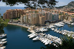 Monaco harbour view. View of harbour from Prince's Palace Monaco Royalty Free Stock Photography