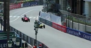 Monaco historisk grand prix 2018 - övre sikt för duellloppslut arkivfilmer