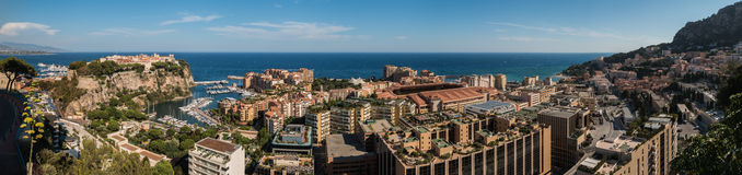 Monaco IX. A panorama picture of the west side of Monaco taken from the Jardin Exotique royalty free stock image