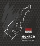 Monaco-Karte, Vektorzeichnung auf Tafel Lizenzfreie Stockbilder