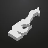 Monaco map in gray on a black background 3d Royalty Free Stock Photos