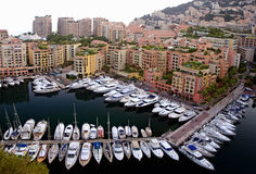 Monaco marina. Picture taken on the other side of the rock in monaco, it shows the marina of fontvielle, a quarter of monaco royalty free stock image