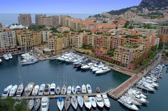 Monaco Marina bay view. Monte Carlo Monaco Marina Bay view and residential properties.Côte d'azur on rainy spring day Royalty Free Stock Photography