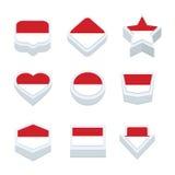 Monaco markeert pictogrammen en de knoop plaatste negen stijlen Stock Afbeelding