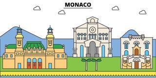 Monaco, Mediterranean sea. City skyline, architecture, buildings, streets, silhouette, landscape, panorama, landmarks Royalty Free Stock Photography