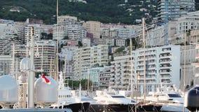 Monaco miasto Monte, Carlo grodzki - uliczny palmowy słoneczny dzień zdjęcie wideo