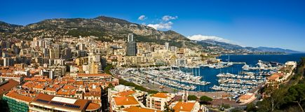 Monaco Monte Carlo. Panoramic view of Monte Carlo, Monaco royalty free stock images