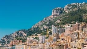 Monaco, Monte Carlo Architecture On Mountain Hill Background. Royalty Free Stock Photos