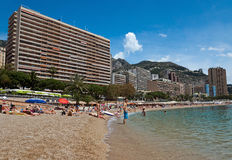 Monaco - Monte Carlo buildings from the city beach Royalty Free Stock Photography