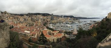 Monaco, Monte Carlo on a cloudy day from the top of palace Royalty Free Stock Image