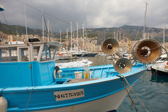 Monaco, Monte-Carlo, 25.09.2008: Fishing boat in Port Hercule. View from water, luxury yachts in harbor of Monaco, Etats-Uni, Piscine, Hirondelle Stock Photography