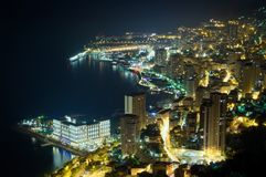 Monaco, Monte Carlo by night. Aerial view of Monaco, Monte Carlo by night Royalty Free Stock Image