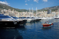 Monaco, Monte-Carlo, 29.05.2008: Port Hercule, MYS Royalty Free Stock Photos