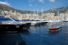 Monaco, Monte-Carlo, 29.05.2008: Port Hercule, MYS. View from water, luxury yachts in harbor of Monaco, Etats-Uni, Piscine, Hirondelle, riva boat, Monaco Yacht Royalty Free Stock Photos