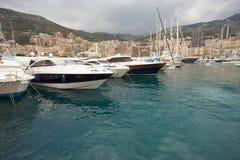 Monaco, Monte-Carlo, 25.09.2008: Port Hercule. View from water, luxury yachts in harbor of Monaco, Etats-Uni, Piscine, Hirondelle Stock Photo