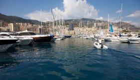 Monaco, Monte-Carlo, 29.05.2008: Port Hercule. View from water, luxury yachts in harbor of Monaco, Etats-Uni, Piscine, Hirondelle Stock Image