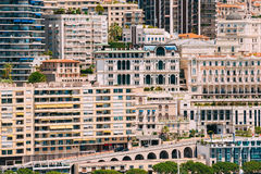 Monaco, Monte Carlo Real Estate Architecture On Mountain Hill Background Stock Photos