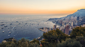 Monaco Monte Carlo. Monaco sunset viewed from La Turbie stock photos