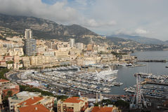 Monaco and Monte-Carlo view. In winter from the top point stock photography