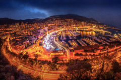 Monaco Monte Carlo. Wide view over Monaco Monte Carlo at dusk Stock Photography