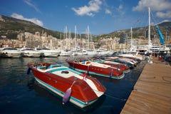 Monaco, Monte-Carlo, 25.09.2008: Yacht Show, Port Hercule, luxur. Port Hercule, luxury yachts in harbor of Monaco, Etats-Uni, Piscine, Hirondelle, Riva boats Royalty Free Stock Photos