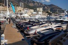 Monaco, Monte-Carlo, 25.09.2008: Yacht Show, Port Hercule. Luxury yachts in harbor of Monaco, Etats-Uni, Piscine, Hirondelle, riva boats parking, Monaco Yacht Royalty Free Stock Image