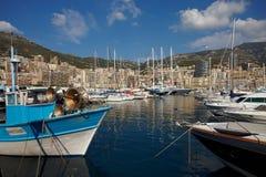 Monaco, Monte Carlo, 25 09 2008: Yachtshow, Hafen Hercule Lizenzfreie Stockbilder