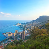 Monaco Montecarlo aerial view cityscape sunset. Royalty Free Stock Photography