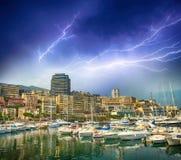 Monaco Montecarlo cityscape, principality harbor view. Skyscrape Stock Photos