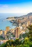 Monaco Montecarlo principality aerial view. Azure coast. France. Monaco Montecarlo cityscape, principality aerial view. Skyscrapers, mountains and marina. Azure Stock Photo