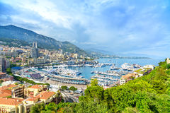 Monaco Montecarlo Principality Aerial View Cityscape. Azure Coast. France Royalty Free Stock Images