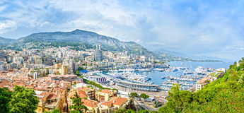 Monaco Montecarlo principality aerial view cityscape. Azure coast. France. Monaco Montecarlo principality aerial view cityscape. Skyscrapers, mountains and Royalty Free Stock Images