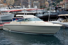 Monaco - Motor boat in the port Hercules Royalty Free Stock Photo