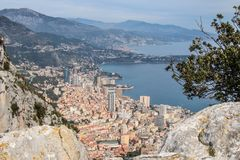 Monaco od niebo widoku gór Monte, Carlo - Fotografia Stock