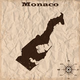 Monaco old map with grunge and crumpled paper. Vector illustration Stock Image