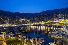Monaco på natten Arkivbilder