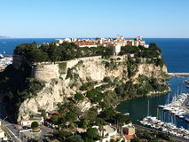 Monaco palace. On the rock, view from exotic garden Royalty Free Stock Photos