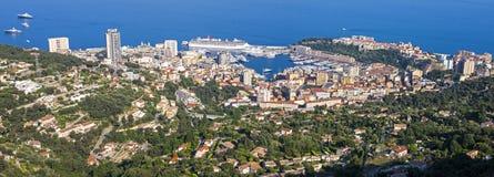 Monaco Panorama. Monaco as seen from La Turbie stock photos