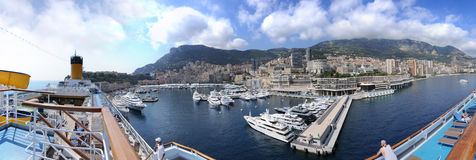 Monaco Panorama from cruise ship royalty free stock photo