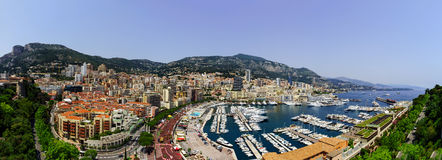 Monaco panoramic bird-fly view, business and tourism concept Royalty Free Stock Image