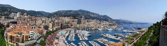 Monaco panoramic bird-fly view, business and tourism concept Stock Photos