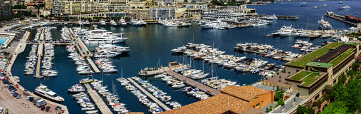 Monaco panoramic bird-fly view, business and tourism concept Stock Photo