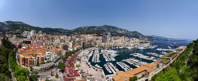 Monaco panoramic bird-fly view, business and tourism concept Royalty Free Stock Photography