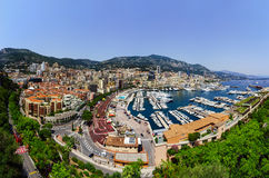 Monaco panoramic bird-fly view, business and tourism concept Stock Images
