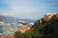 Monaco. Panoramic view. Cruise ship, boats, yachts and luxury. Few steps from Prince`s Palace of Monaco Royalty Free Stock Image